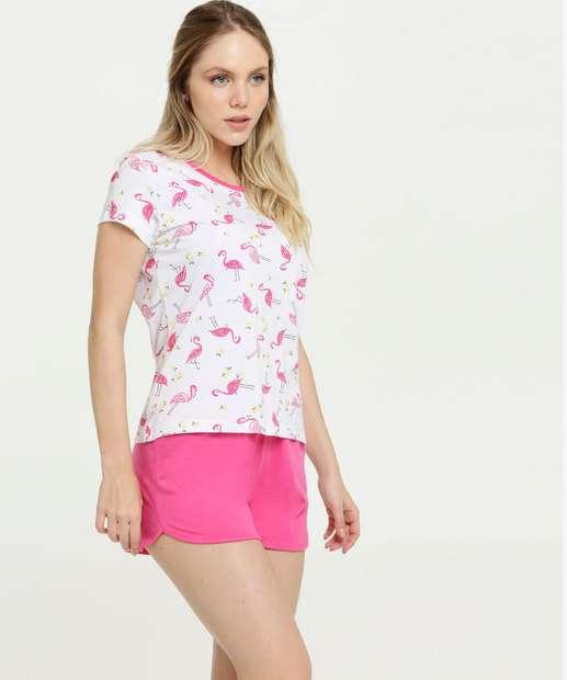 Image_Pijama Feminino Estampa Flamingo Manga Curta