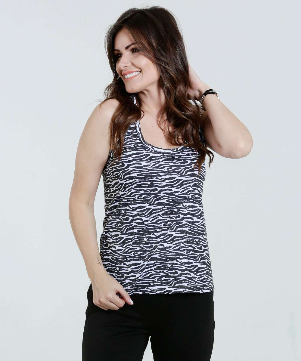 Regata feminina estampa animal print zebra Marisa