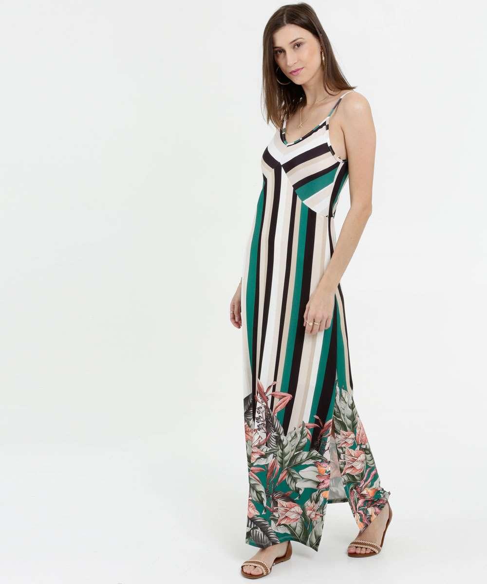Vestido Feminino Longo Listrada Alça Finas