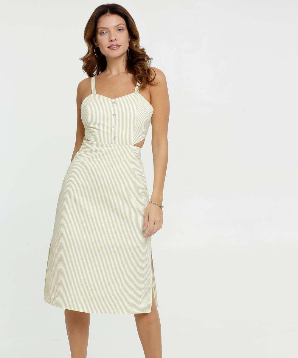 Vestido Feminino Midi Listrado Alças Finas