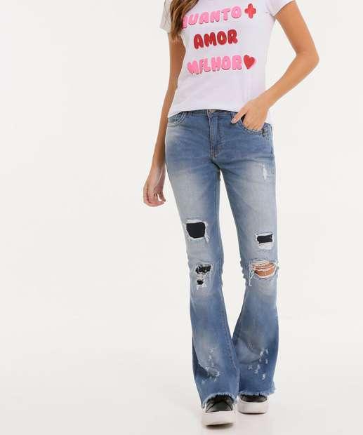Image_Calça Flare Feminina Destroyed Zune Jeans