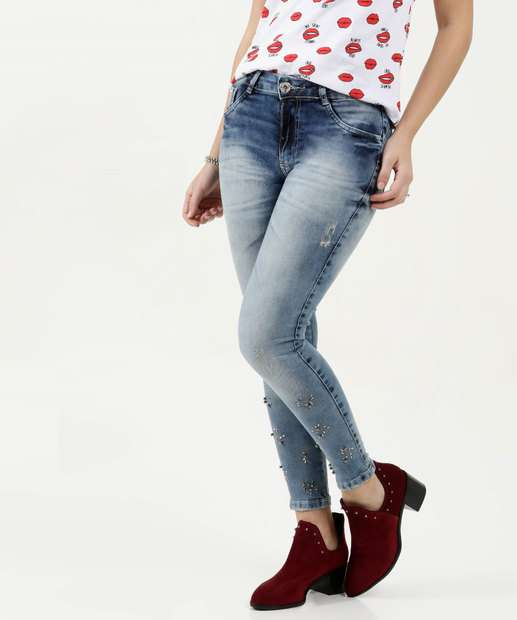 Image_Calça Feminina Jeans Skinny Tachas Biotipo