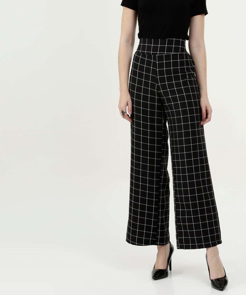 Calça Feminina Pantalona Quadriculada Marisa