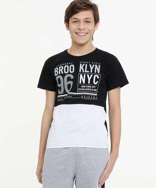 Image_Camiseta Juvenil Estampa Frontal Bicolor Tam 10 a 16