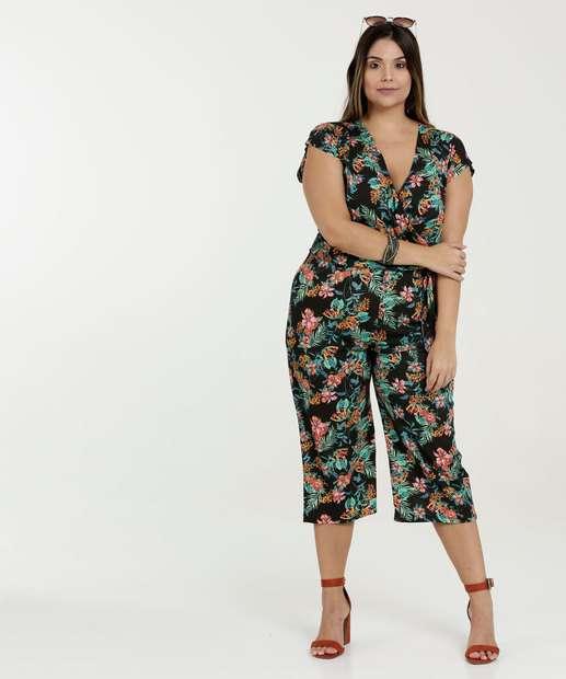 e8b9a7a07c Macacão Feminino Estampa Floral Pantacourt Plus Size