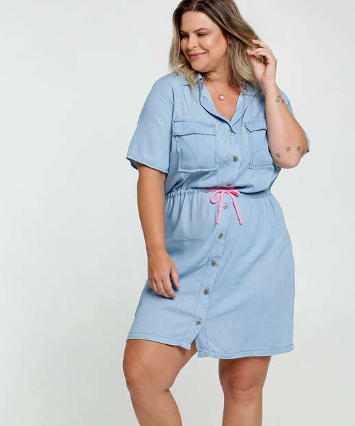Image_Vestido Feminino Jeans Chemise Plus Size Razon