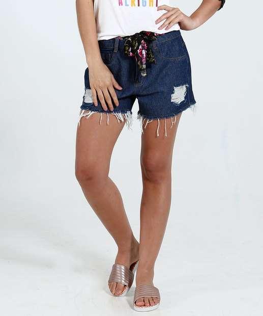 Image_Short Feminino Jeans Puídos Cinto Floral Marisa