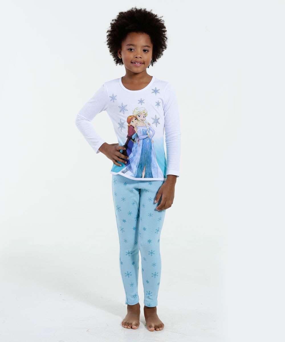 Pijama Infantil Manga Longa Frozen Brilho Disney