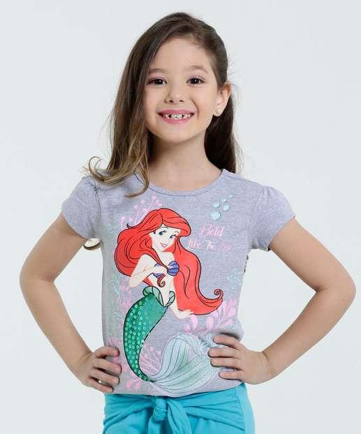 Image_Blusa Infantil Estampa Ariel Paetês Disney