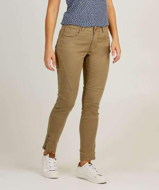 Image_Calça Skinny Feminina Sarja Recorte Uber Jeans