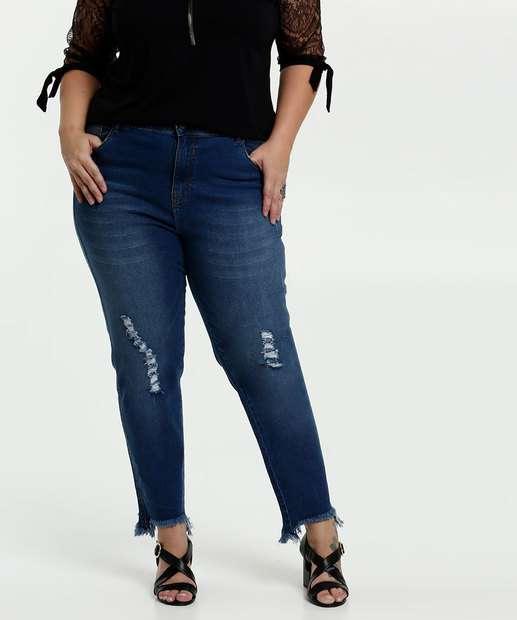 Image_Calça Jeans Puídos Cigarrete Feminina Plus Size Marisa