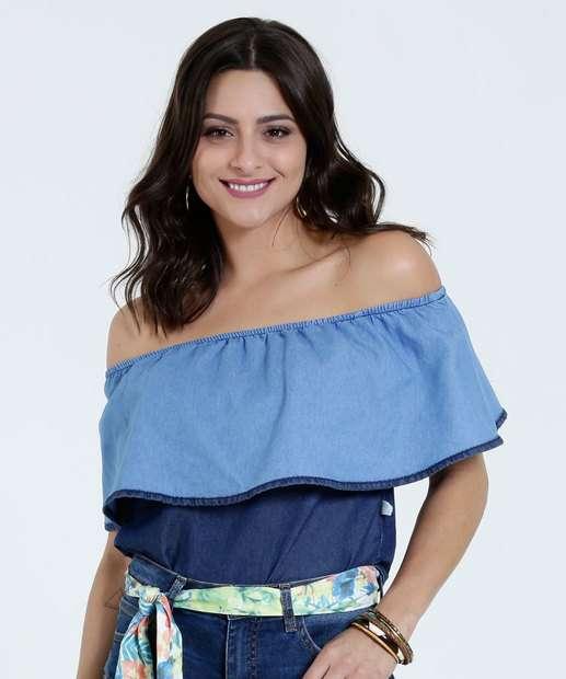 Image_Blusa Feminina Jeans Recorte Ciganinha Marisa