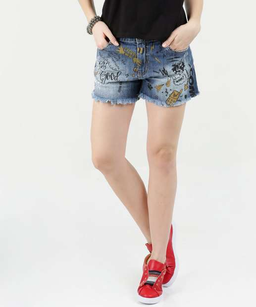 Image_Short Feminino Jeans Estampado Sawary