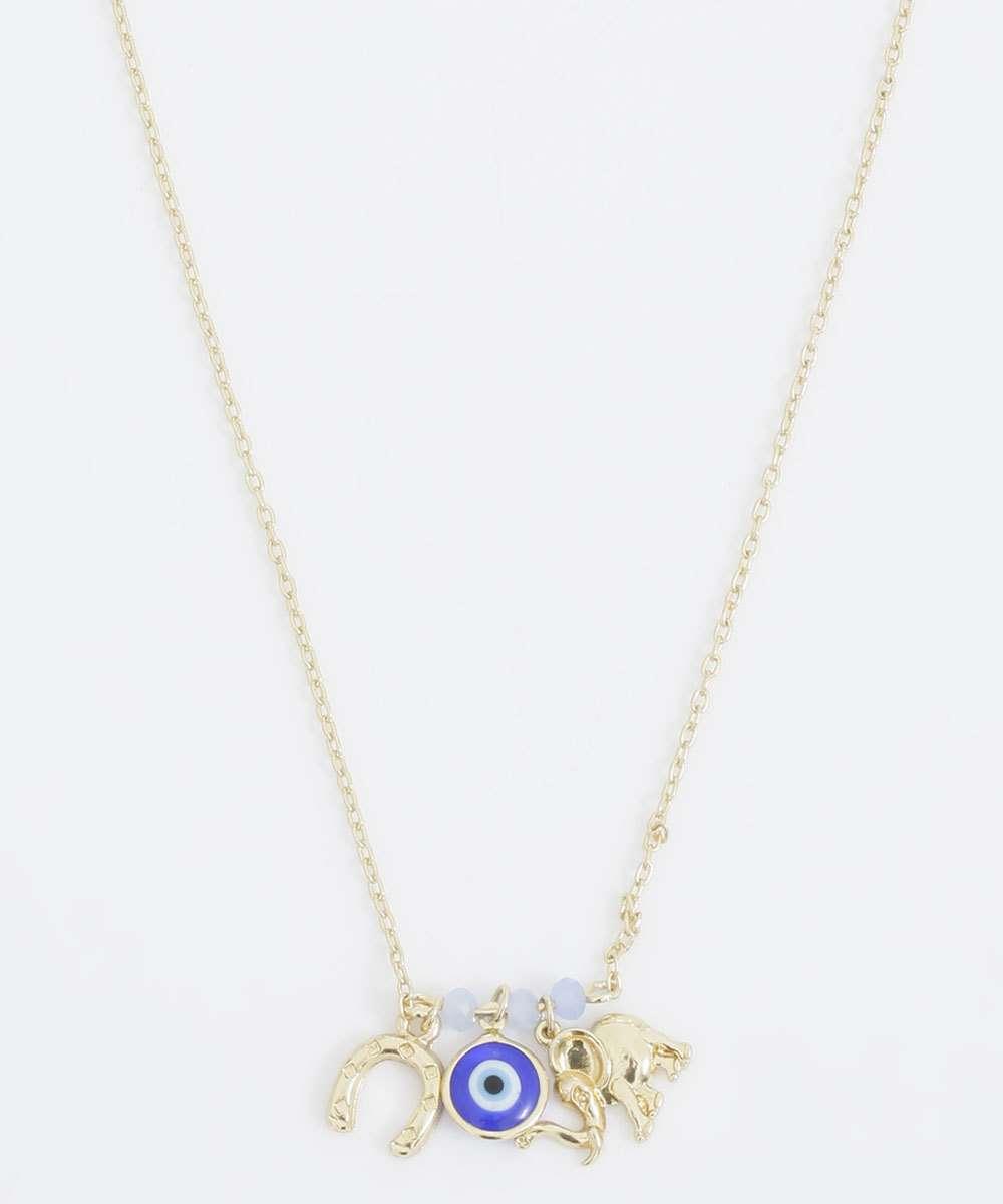 Colar Feminino Pingentes Amuletos Marisa