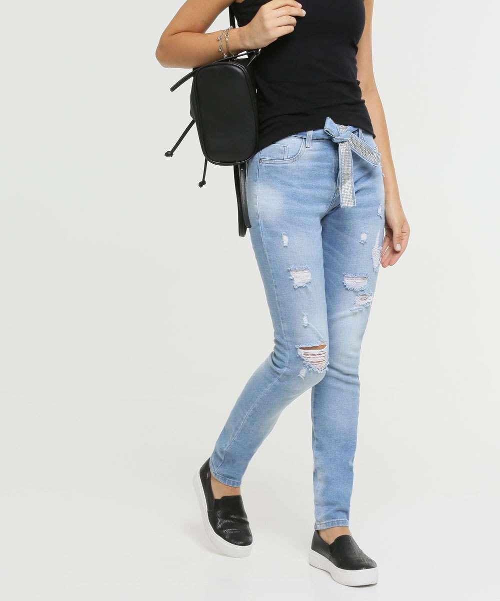 Calça Jeans Skinny Destroyed Feminina Sawary