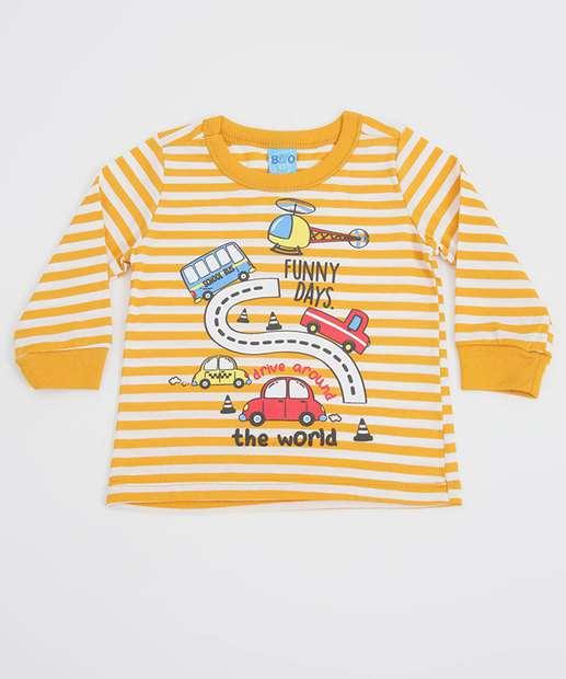 Image_Camiseta Infantil Listrada Carro Manga Longa