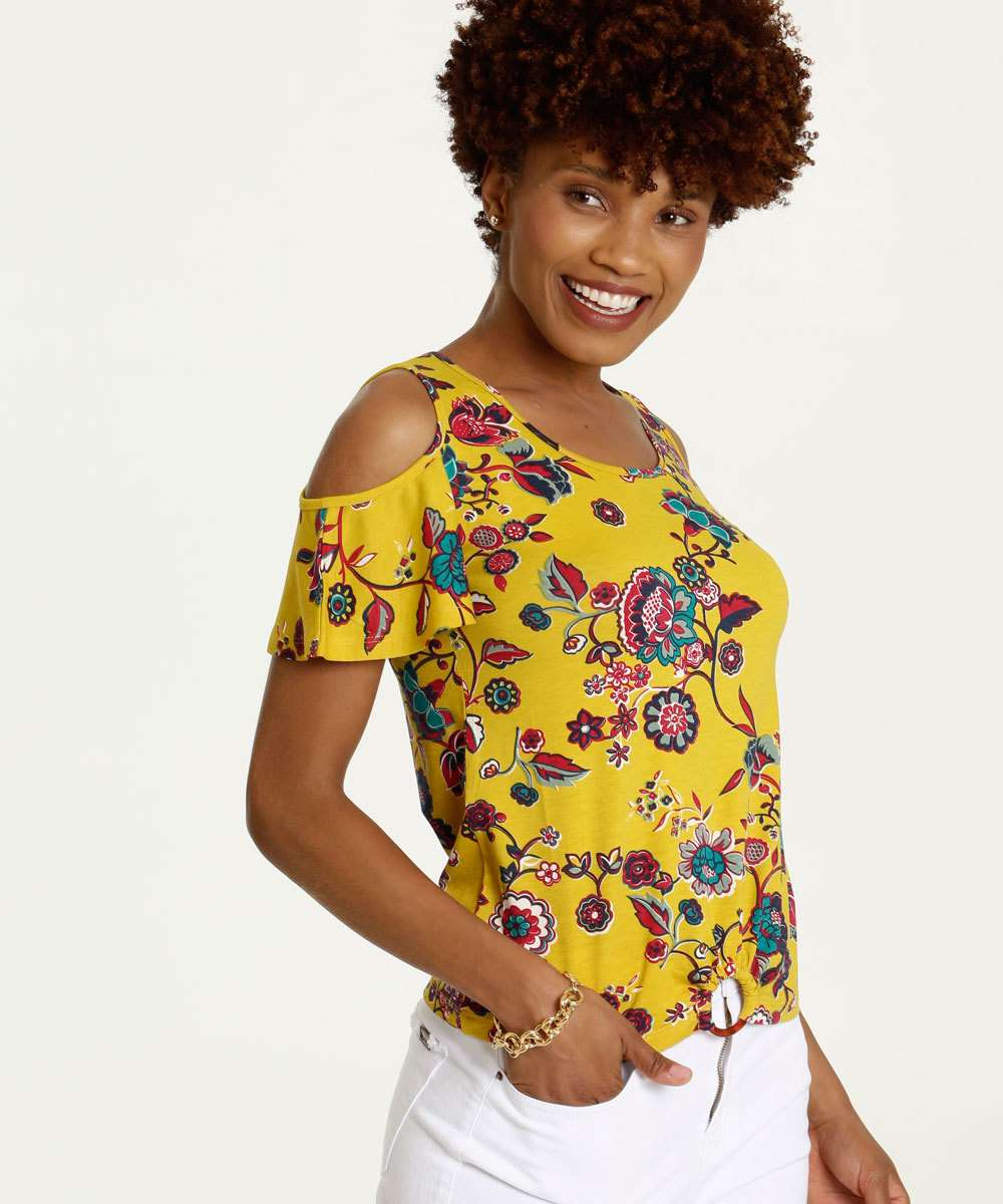 Blusa Feminina Open Shoulder Estampa Floral Manga Curta