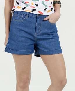 Short Feminino Jeans Barra Dobrada Marisa