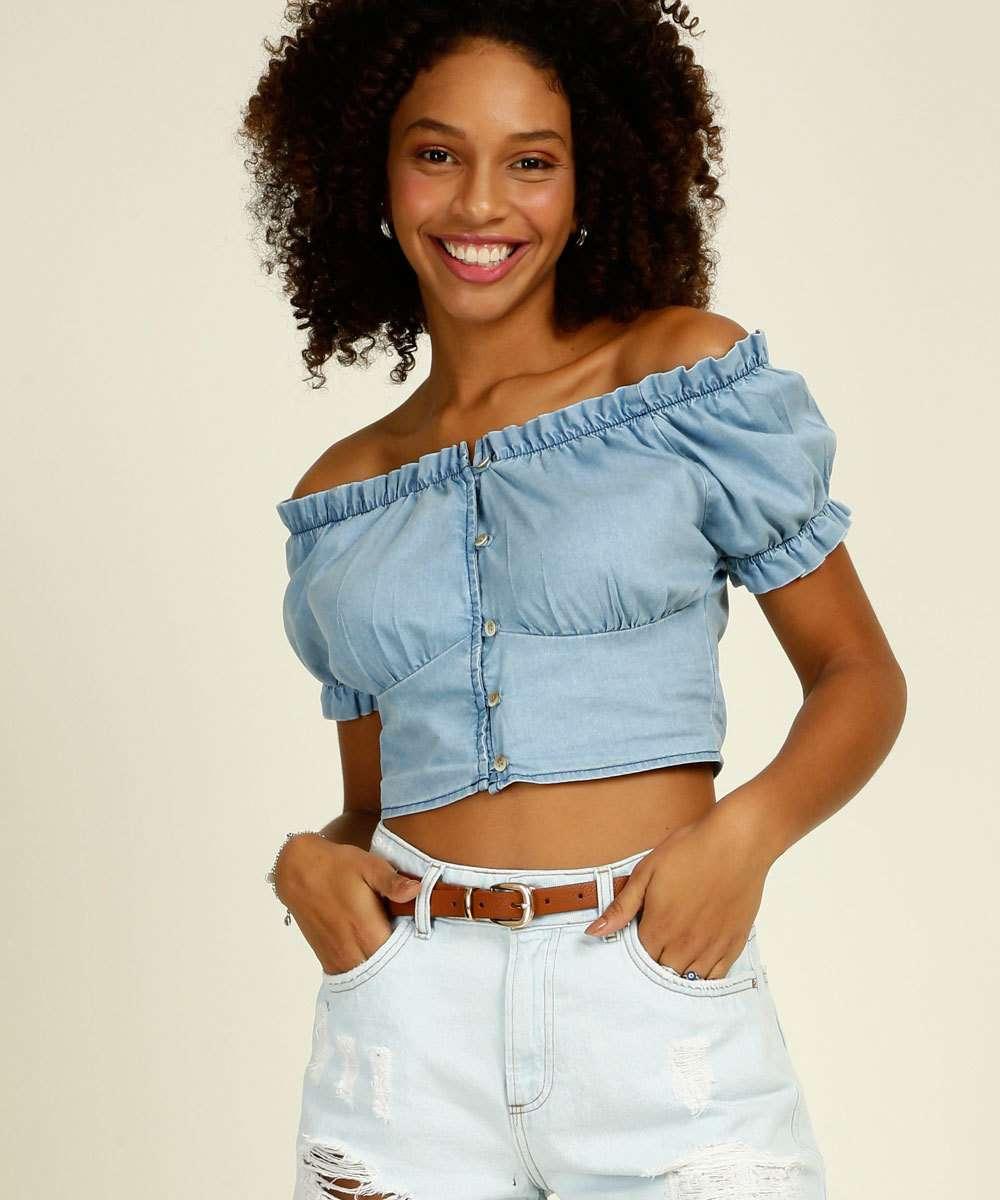 Blusa Cropped Ciganinha Feminina Jeans Marisa