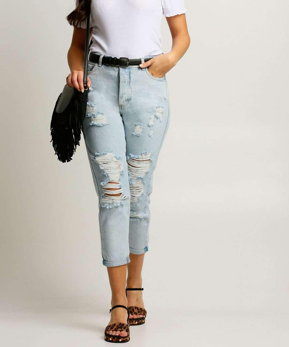 Calça Jeans Destroyed Capri Feminina Cintura Alta