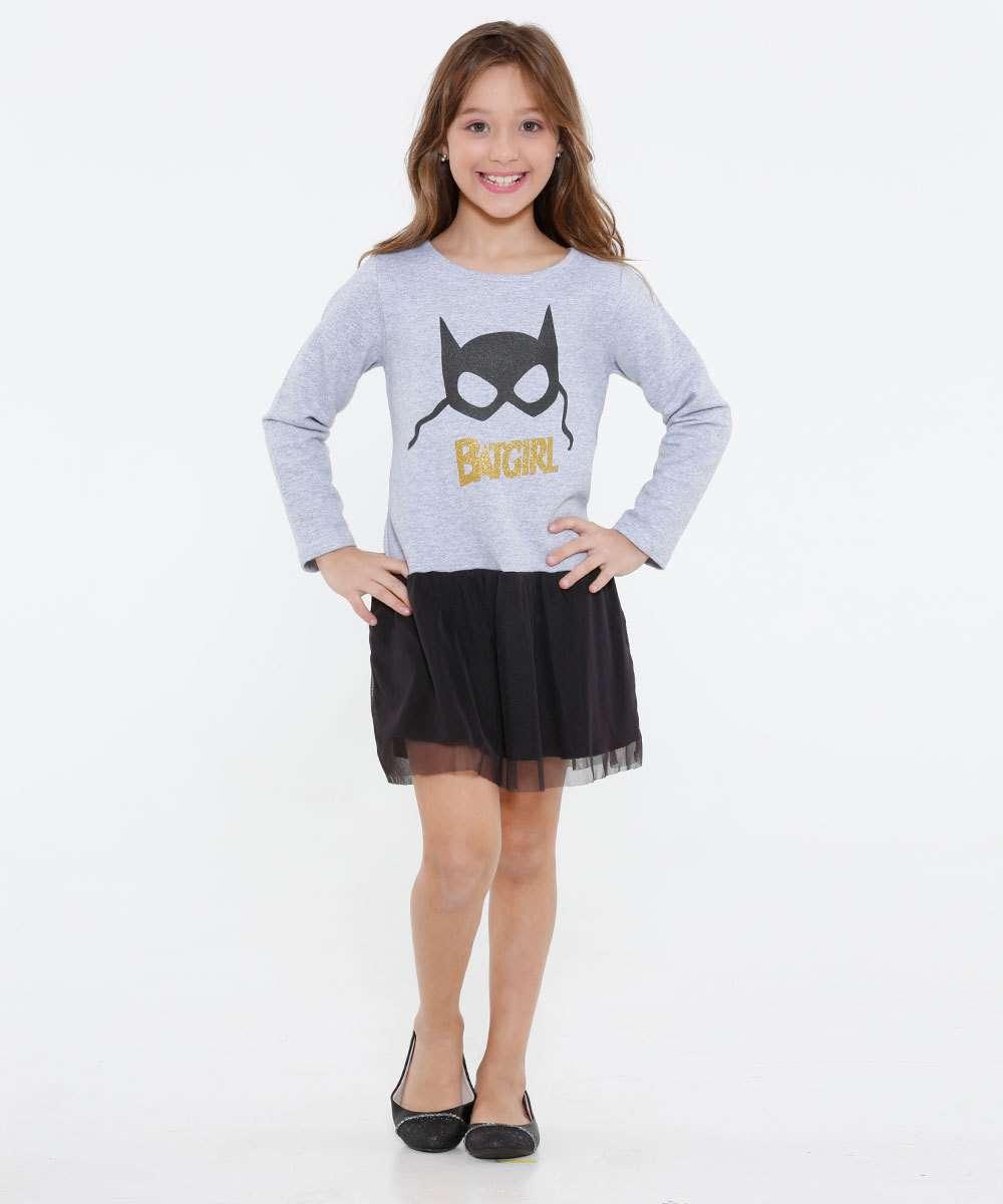 Vestido Infantil Moletinho Batgirl Liga da Justiça