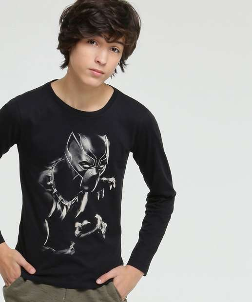 Image_Camiseta Juvenil Pantera Negra Manga Longa Marvel