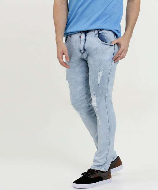Image_Calça Masculina Jeans Skinny Stretch Destroyed MR