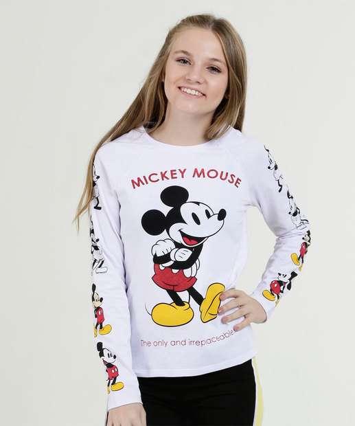 2e1c46ba97 Blusa Juvenil Estampa Mickey Manga Longa Disney