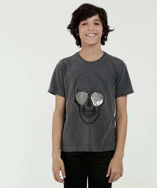 Image_Camiseta Juvenil Estampa Caveira Manga Curta MR