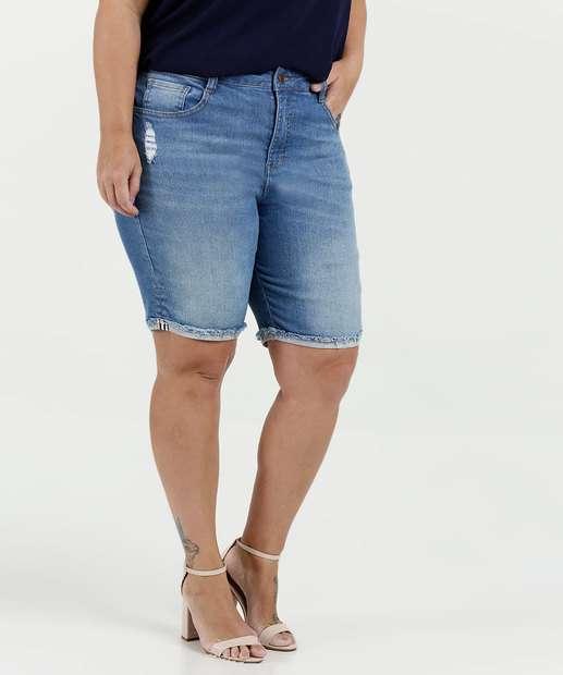 Image_Bermuda Feminina Jeans Puídos Plus Size Marisa
