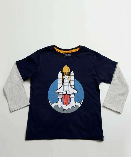 Image_Camiseta Infantil Estampa Foguete Manga Longa