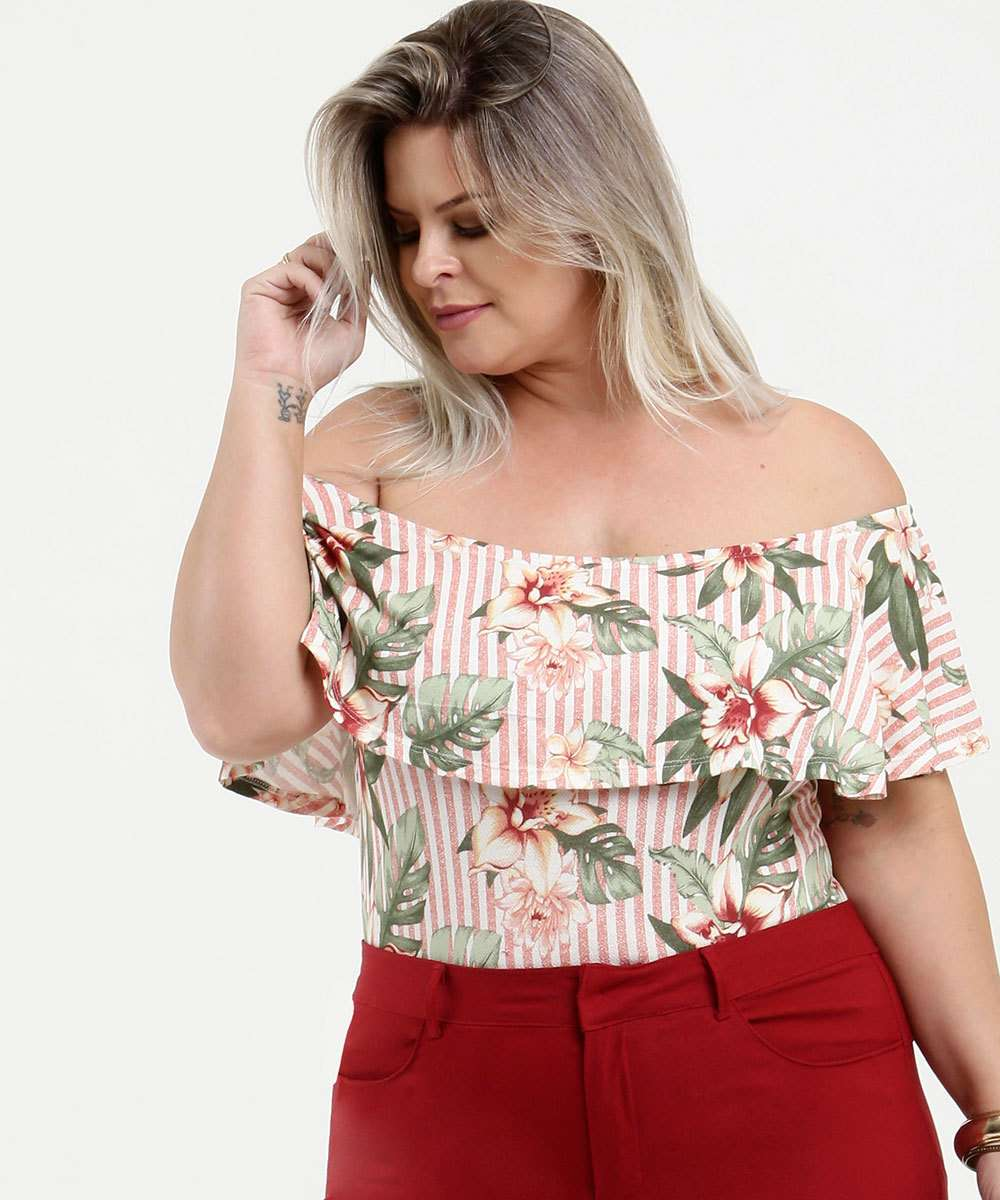 Body Feminino Ombro a Ombro Estampa Tropical Plus Size Marisa