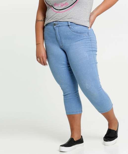 Image_Calça Jeans Puídos Capri Feminina Plus Size