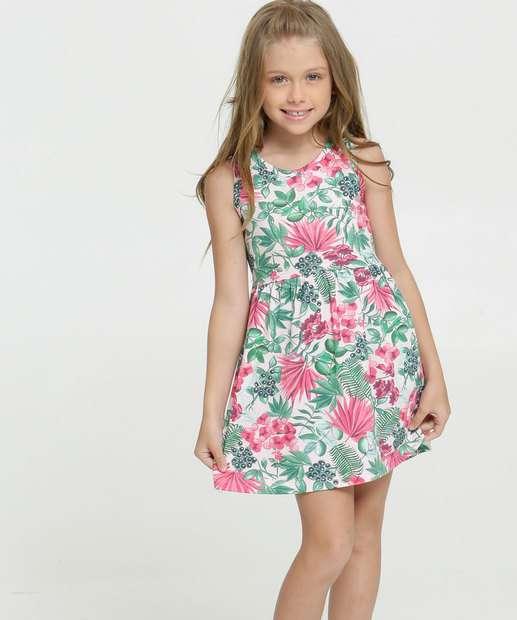 Image_Vestido Infantil Estampa Tropical Sem Mangas Brandili