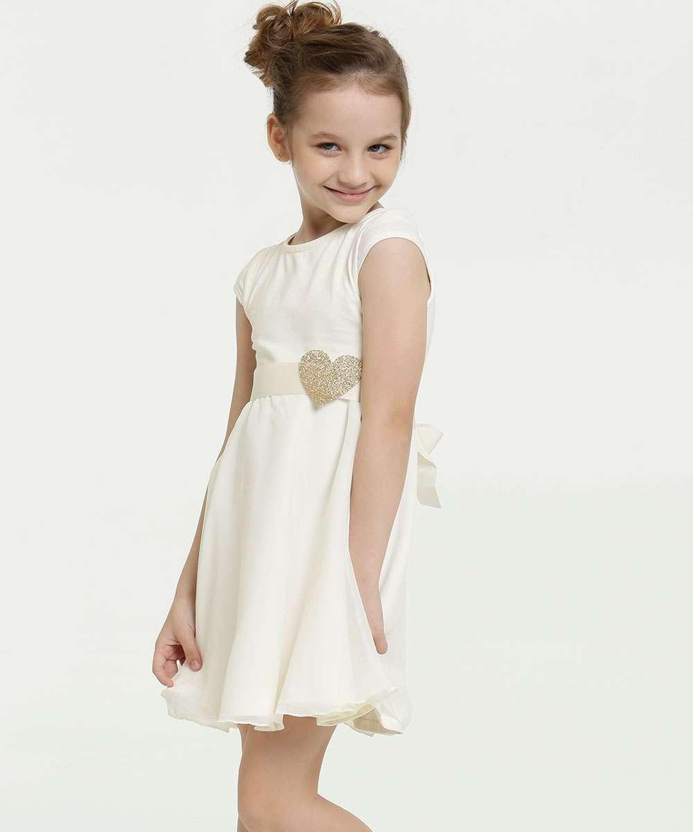Vestido Infantil Chiffon Coração Glitter Manga Curta