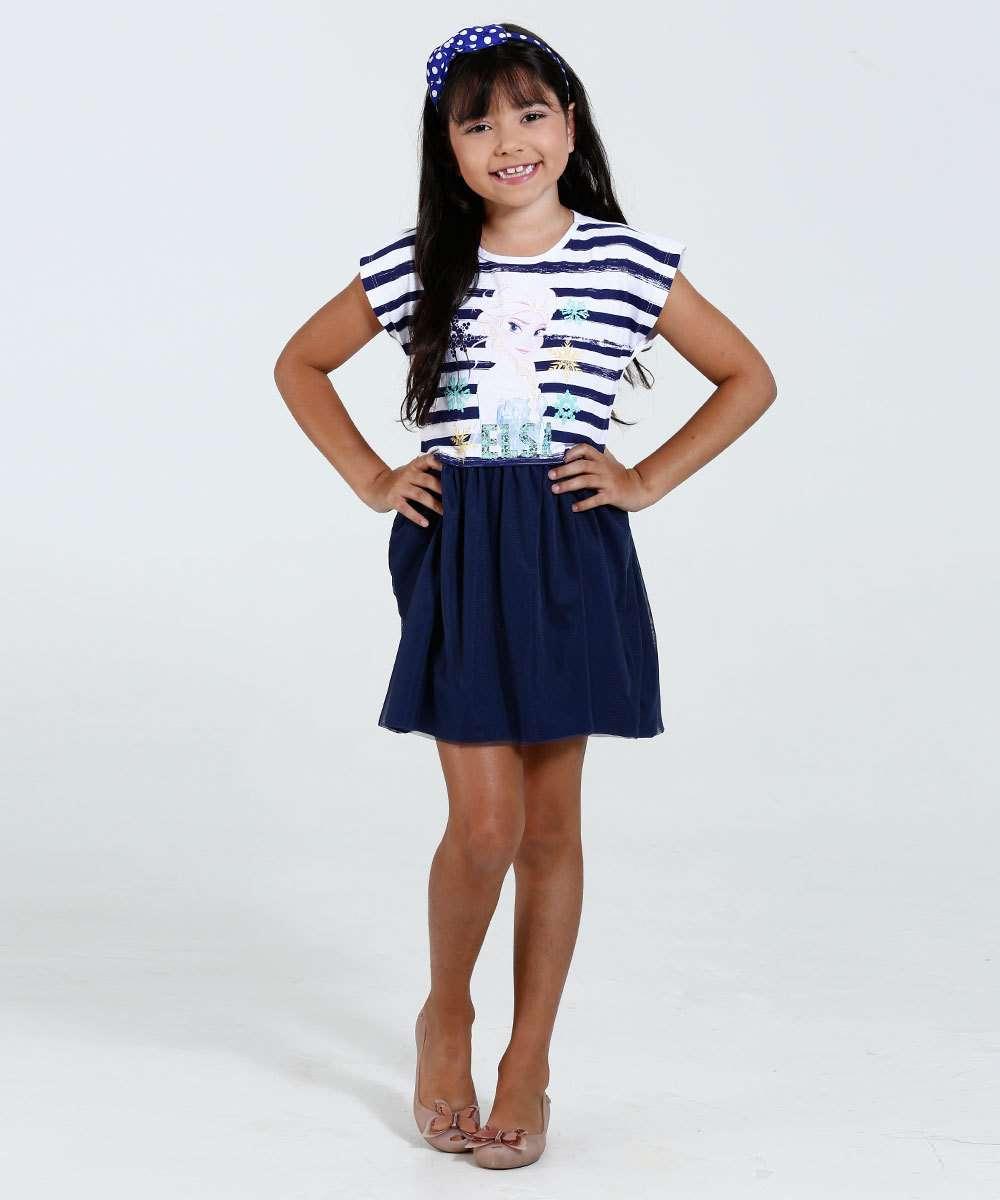 b3552d1a1a9fa2 Vestido Infantil Estampa Frozen Tule Disney