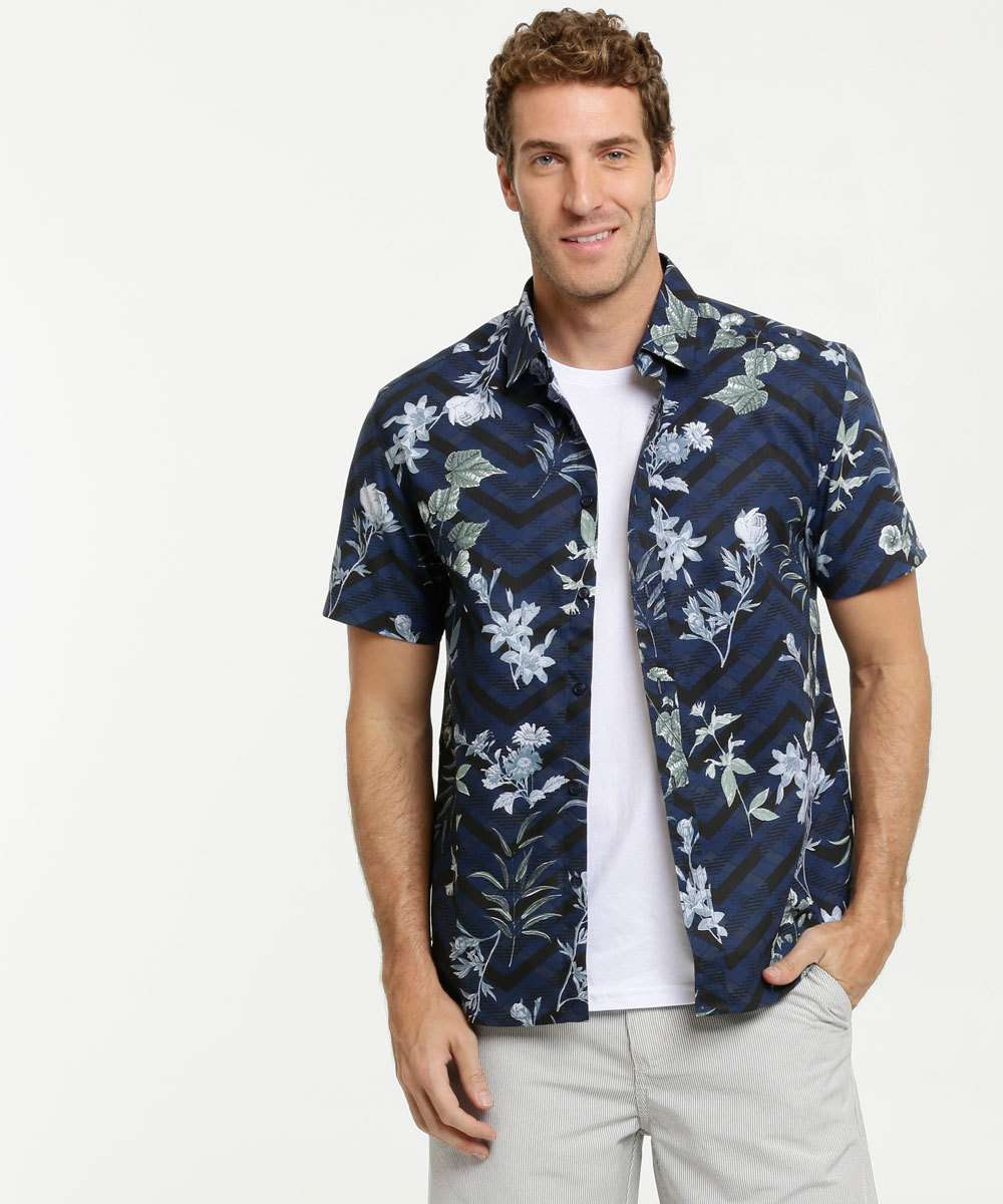 Camisa Masculina Estampa Tropical Manga Curta MR