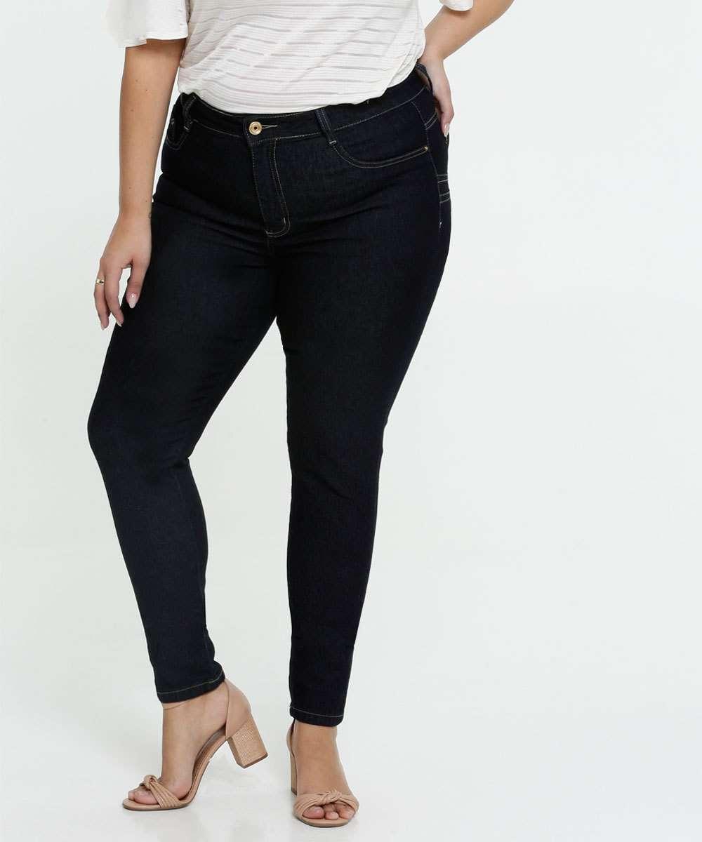 Calça Jeans Skinny Feminina Plus Size Sawary
