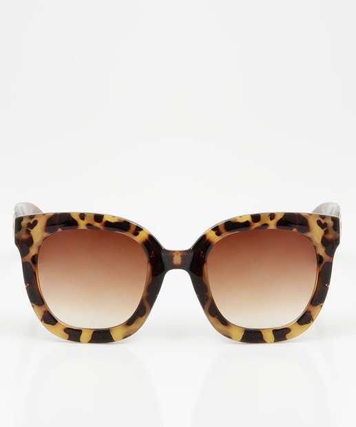 Image_Óculos de Sol Feminino Redondo Estampa Animal Print Marisa