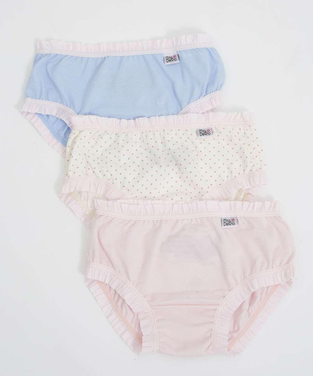 Kit 3 Calcinhas Infantil Bebê Estampada DelRio