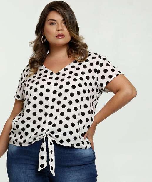 Image_Blusa Feminina Amarração Estampa Bolinhas Plus Size