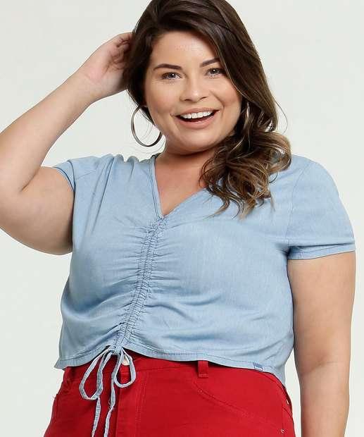 Image_Blusa Feminina Cropped Jeans Drapeado Plus Size Razon