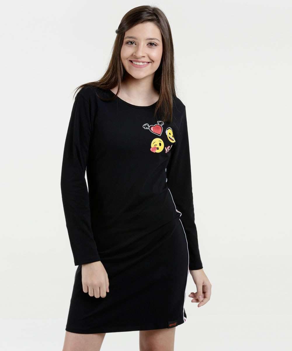 Vestido Juvenil Listras Emojis Manga Longa Marisa