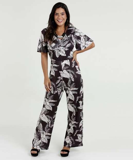 Image_Macaquinho Feminino Pantalona Estampa Folhas Manga Curta
