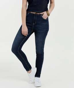 Calça Feminina Jeans Skinny Cinto Marisa