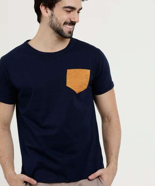 Image_Camiseta Masculina Bolso Manga Curta Los