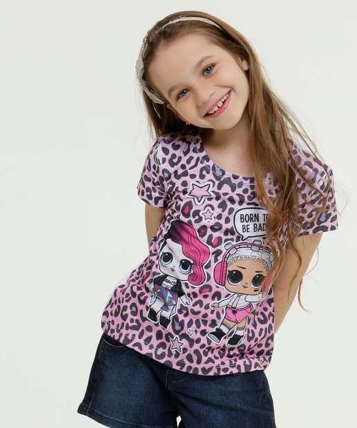 Image_Blusa Infantil Estampa Animal Print Manga Curta Lol