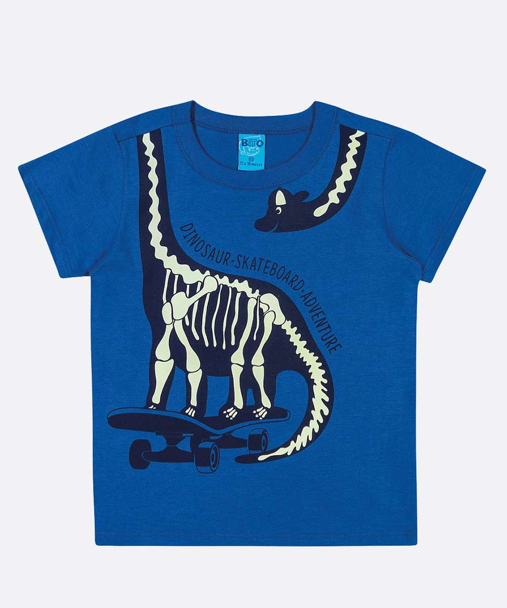Camiseta Infantil Manga Curta Dinossauro Tam 1 a 3