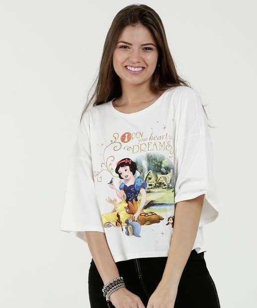 08b23f45d0 Blusa Feminina Estampa Frontal Branca de Neve Manga 3 4 Disn.