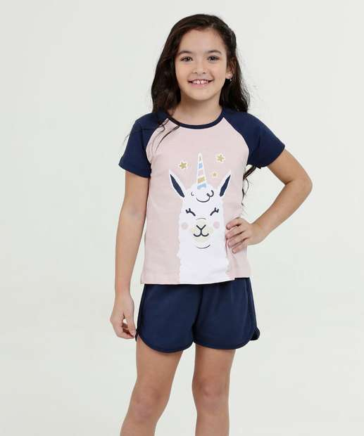 e43f24909 Pijama Infantil Estampa Lhama Manga Curta Marisa